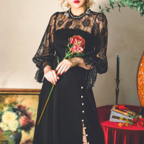 Dress Autumn 2020 black longuette singleton  Long sleeves commute High collar High waist Solid color Socket A-line skirt bishop sleeve Others Type A Miss egg / MI AI Retro More than 95% Lace polyester fiber