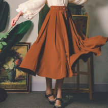 skirt Autumn 2020 S code spot, s code pre-sale 15 days, M code pre-sale 15 days, M code spot Caramel warm brown, versatile black longuette Retro High waist Umbrella skirt Solid color Type A 20SD0902 More than 95% other Miss egg / MI AI polyester fiber Lace up, tie, button