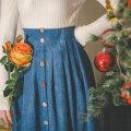 skirt Winter 2020 longuette Retro High waist A-line skirt Solid color Type A More than 95% corduroy Miss egg / MI AI polyester fiber Fold, button, zipper