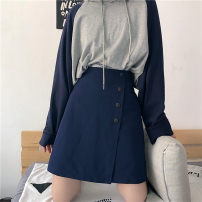 skirt Autumn of 2019 M,L,XL,2XL,3XL,4XL Black, Navy Mid length dress commute High waist Irregular Solid color Type A 25-29 years old other Asymmetric, zipper Korean version