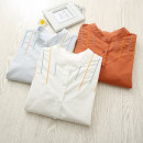 shirt White, light blue, brick red S,M,L,XL Spring of 2019 cotton 96% and above Long sleeves commute Regular stand collar Single row multi button routine Solid color Straight cylinder Korean version Embroidery, buttons