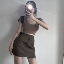 skirt Summer 2021 S. M, l, average size Top, skirt Short skirt commute High waist stripe Type A 18-24 years old 30% and below cotton pocket Korean version
