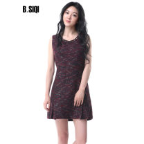 Dress Spring of 2019 Black red Mid length dress singleton  Sleeveless commute Crew neck High waist zipper 35-39 years old Type X B. Siqi beisiqi Simplicity 30% and below wool