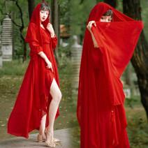 Dress Summer 2020 S,M,L,XL longuette singleton  Long sleeves V-neck Solid color Chiffon