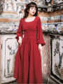 Dress Autumn of 2019 Retro Red S,M,L longuette Long sleeves commute middle-waisted Solid color zipper Big swing puff sleeve Other / other Retro Frenulum 31% (inclusive) - 50% (inclusive)