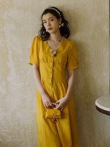 Dress Summer 2021 yellow S,M,L longuette singleton  Short sleeve commute other High waist Solid color zipper A-line skirt puff sleeve Others Retro