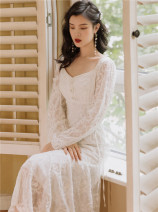 Dress Autumn 2020 white S,M,L,XL longuette singleton  Long sleeves commute V-neck High waist Solid color Socket A-line skirt routine Type A Retro Lace Lace polyester fiber
