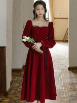 Dress Winter 2020 claret S,M,L longuette singleton  Long sleeves commute square neck High waist Solid color Others Type A Retro