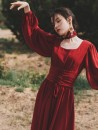 Dress Autumn of 2019 claret S,M,L longuette singleton  Long sleeves commute square neck High waist Solid color zipper other Others Type A Other / other Retro Frenulum