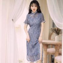 cheongsam Summer of 2019 S,M,L blue Short sleeve Retro