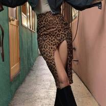 skirt Autumn 2020 S,M,L brown street High waist Leopard Print Europe and America