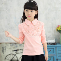T-shirt Pink, white, pink 1, pink 2, Pink 4, white 1, pink 5, pink 6 Other / other 110cm,120cm,130cm,140cm,150cm,160cm female spring and autumn Long sleeves Lapel and pointed collar leisure time There are models in the real shooting nothing cotton Broken flowers Cotton 95% other 5% Class B other