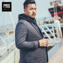 man 's suit Medium grey pmao Youth fashion routine 2XL 3XL 4XL 5XL 6XL MAGF-XZ1002 Polyester 66% viscose 32% polyurethane elastic 2% Fall 2017 easy Double breasted Other leisure Back middle slit Pure e-commerce (online only) Large size Long sleeves autumn routine tide Casual clothes Flat lapel