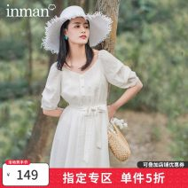Dress Spring 2020 Off white, tea green S,M,L Mid length dress singleton  Short sleeve Sweet square neck middle-waisted Solid color Single breasted A-line skirt puff sleeve 25-29 years old Type H Inman  71% (inclusive) - 80% (inclusive) other other Countryside