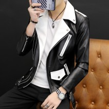 leather clothing Others Youth fashion routine Imitation leather clothes Lapel Slim fit Diagonal zipper placket spring Travel? teenagers Polyester 17.5% others 82.5% tide other Zipper bag Waist drawstring No iron treatment