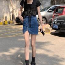 skirt Summer 2020 S,M,L,XL Black top, denim skirt Short skirt A-line skirt Solid color 18-24 years old Denim