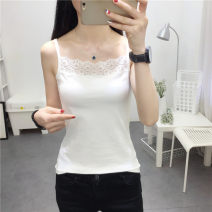 Vest sling Summer of 2018 Black, white XL,M,L,XXL singleton  routine Self cultivation camisole Solid color 18-24 years old 91% (inclusive) - 95% (inclusive) polyester fiber 021y Other / other 3D, asymmetric, pleated, zipper, stitching, three-dimensional decoration, lace up, gauze, thread, fold, cloth