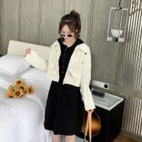 Women's large Spring 2021 White coat, black dress Big l [quality assurance], big XL [quality assurance], big 2XL [quality assurance], big 3XL [quality assurance], big 4XL [quality assurance], big 5XL [quality assurance] Other oversize styles Two piece set commute easy moderate Cardigan Long sleeves