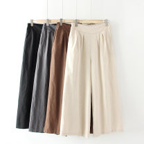Casual pants XL,2XL,3XL,4XL Summer of 2019 Ninth pants Wide leg pants High waist Versatile routine 30-34 years old 51% (inclusive) - 70% (inclusive) Other / other hemp pocket
