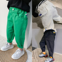 trousers I'M SWEET male 100, 110, 120, 130, 140, 150, 160 White, green, black, white second batch, green second batch spring and autumn trousers Korean version There are models in the real shooting Casual pants Leather belt middle-waisted cotton Don't open the crotch BK00023 Class B Chinese Mainland