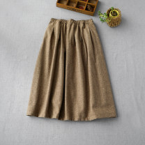 skirt Autumn of 2019 Kaqige, grey Mid length dress commute Type A More than 95% wool Simplicity