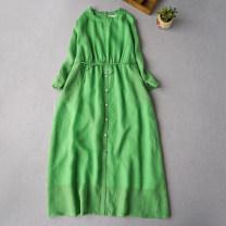 Dress Summer 2020 Green, rose red, milky white, retro blue Average size longuette Nine point sleeve commute Simplicity More than 95% hemp