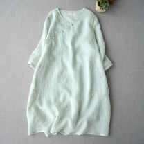 Dress Spring 2020 Gray, milky white, red, light lotus root powder, pink, light water green Average size Mid length dress three quarter sleeve commute V-neck Retro FW812 More than 95% hemp