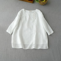 shirt Milky white, black, light gray, light yellow, skin pink, dark red Average size Spring 2020 hemp 96% and above three quarter sleeve commute Regular Crew neck Retro