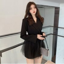 Dress Spring 2021 White, black S, M Short skirt Long sleeves commute tailored collar High waist Solid color double-breasted routine 18-24 years old Type A Korean version