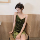 Dress Autumn of 2019 Red, green, black Average size Short skirt singleton  Sleeveless commute V-neck Solid color Socket One pace skirt camisole 18-24 years old Other / other Retro backless