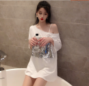T-shirt White, black Average size Summer of 2019 Short sleeve Crew neck easy Regular routine commute cotton 96% and above 18-24 years old Korean version