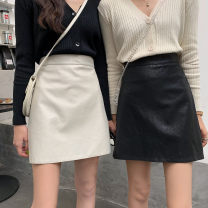 skirt Autumn of 2019 S,M,L Apricot, green, black Short skirt High waist A-line skirt Solid color 18-24 years old Other / other