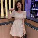 Dress Summer of 2019 Black, white Average size Short skirt singleton  Short sleeve commute square neck Elastic waist Solid color Socket other routine Others 18-24 years old Type A Other / other Korean version fold 81% (inclusive) - 90% (inclusive) polyester fiber