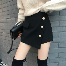 skirt Winter of 2018 S,M,L black Short skirt Versatile High waist Irregular Solid color Type A 18-24 years old 31% (inclusive) - 50% (inclusive) Wool Other / other cotton