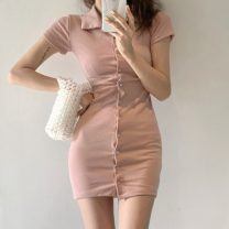 Dress Summer 2020 White, green, blue, black, pink Average size Short skirt singleton  Short sleeve commute High waist Solid color Single breasted One pace skirt 18-24 years old Type A Korean version