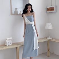 Dress Summer 2020 Picture color S, M longuette singleton  Sleeveless commute One word collar High waist other Socket camisole 18-24 years old lady