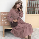 Dress Winter 2017 Navy, lotus red Average size longuette singleton  Long sleeves commute V-neck Elastic waist lattice Socket Big swing pagoda sleeve Others 18-24 years old Type A Other / other literature 30% and below other