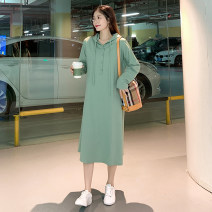 Women's large Autumn 2020 Black, bean green Large XL, large XXL, large XXL, large XXXXL, large L, M Dress singleton  commute easy moderate Socket Long sleeves Korean version Hood Three dimensional cutting Medium length other