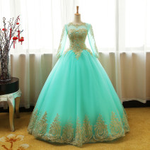 Dress / evening wear Wedding, adulthood, party, company annual meeting, performance Picture color Korean version longuette middle-waisted Spring 2017 Fluffy skirt U-neck Bandage Softnet 18-25 years old Long sleeves Embroidery machine embroidery