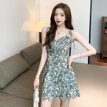Dress Summer 2021 Fresh broken flowers S,M,L Short skirt singleton  Sleeveless commute V-neck High waist Broken flowers Socket One pace skirt camisole 18-24 years old Type X Other / other Korean version backless 31% (inclusive) - 50% (inclusive) brocade other