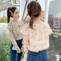 Lace / Chiffon Spring of 2019 1905 apricot star chiffon shirt S,M,L,XL Long sleeves commute Socket Self cultivation Regular V-neck pagoda sleeve 18-24 years old Other / other Floral Chiffon Korean version