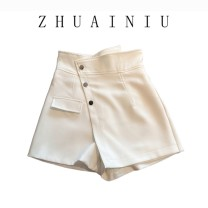 Casual pants Picture color S,M,L,XL shorts Wide leg pants High waist commute routine 25-29 years old 120B polyester fiber pocket polyester fiber Asymmetry