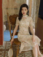 cheongsam Summer 2021 S,M,L Floral dress cheongsam Short sleeve Single cheongsam Retro High slit daily Round lapel Broken flowers 18-25 years old Embroidery Other / other other 31% (inclusive) - 50% (inclusive)