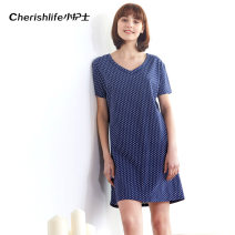 Nightdress Cherry life / Junior nurse Blue dot Simplicity Short sleeve Leisure home Middle-skirt summer Dot youth V-neck cotton printing More than 95% pure cotton 200g and below Spring of 2019 Cotton 100% Same model in shopping mall (sold online and offline)