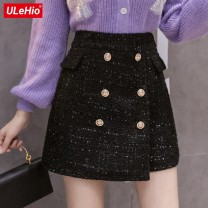 skirt Autumn 2020 Short skirt High waist commute A-line skirt Solid color Type A 71% (inclusive) - 80% (inclusive) polyester fiber Wool Bright silk, zipper Korean version S,M,L,XL Black silver, collect and give gifts