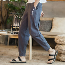 Casual pants Others Youth fashion Gray, black M,L,XL,2XL,3XL,4XL,5XL routine Ninth pants Other leisure easy Micro bomb K200204 Four seasons teenagers Chinese style 2020 middle-waisted Little feet Cotton 85% flax 15% Haren pants Embroidery washing cotton Cotton and hemp