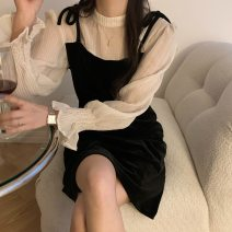 Dress Spring 2021 black S, M longuette singleton  Long sleeves commute Crew neck High waist Solid color Socket A-line skirt other 18-24 years old Type A Korean version Splicing polyester fiber