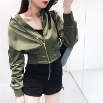short coat Autumn of 2018 M L Apricot pink black army green Long sleeves routine singleton  zipper Solid color 18-24 years old 51% (inclusive) - 70% (inclusive)