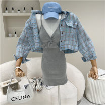Fashion suit Spring 2021 Average size Green coat, blue coat, grey suspender skirt, khaki suspender skirt 18-25 years old 51% (inclusive) - 70% (inclusive)