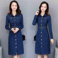 Dress Spring 2020 Dark blue, light blue S,M,L,XL,2XL,3XL Mid length dress singleton  Long sleeves commute Polo collar middle-waisted Solid color Single breasted One pace skirt routine Others Type H Korean version Pockets, panels, buttons 71% (inclusive) - 80% (inclusive) Denim cotton